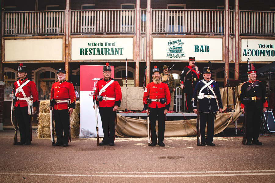 Rifle Regiment in front of the Victoria Hotel
