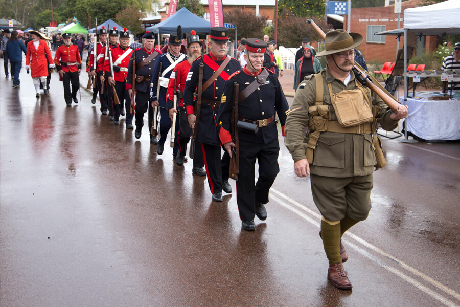 Rifle Regiment parade through Toodyay Main Street