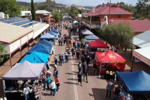 Stalls on Toodyay's main street looking westward